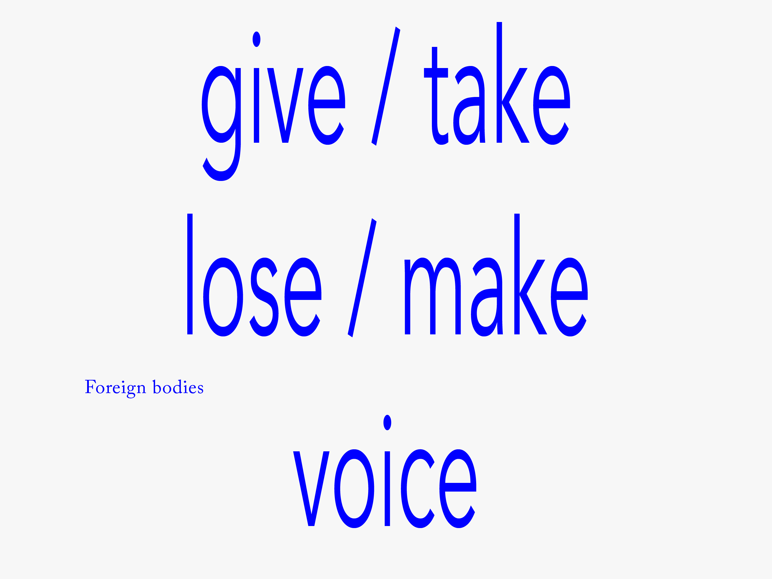 Foreign Bodies #1 — Give/take/lose/make voice